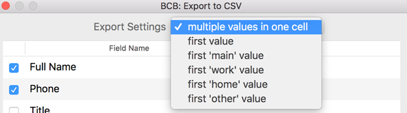 Export settings to combine multiple values