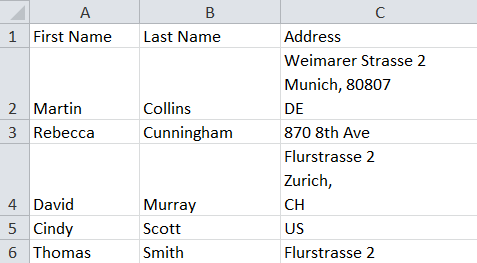 How to import address information in one column to Excel