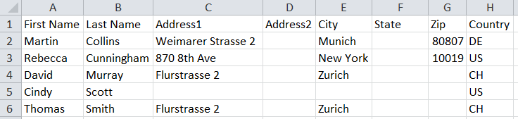 How to import address information to Excel
