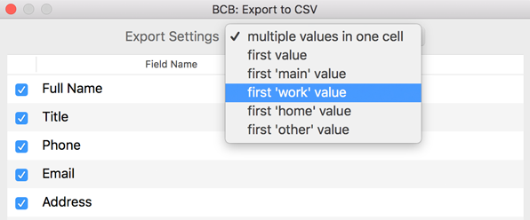 Export settings to save the work related information