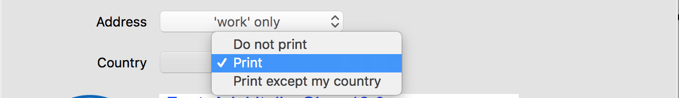 Print country on envelopes