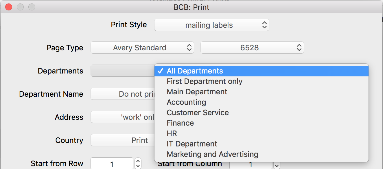 How to print Labels from Business Contact Book - Help section