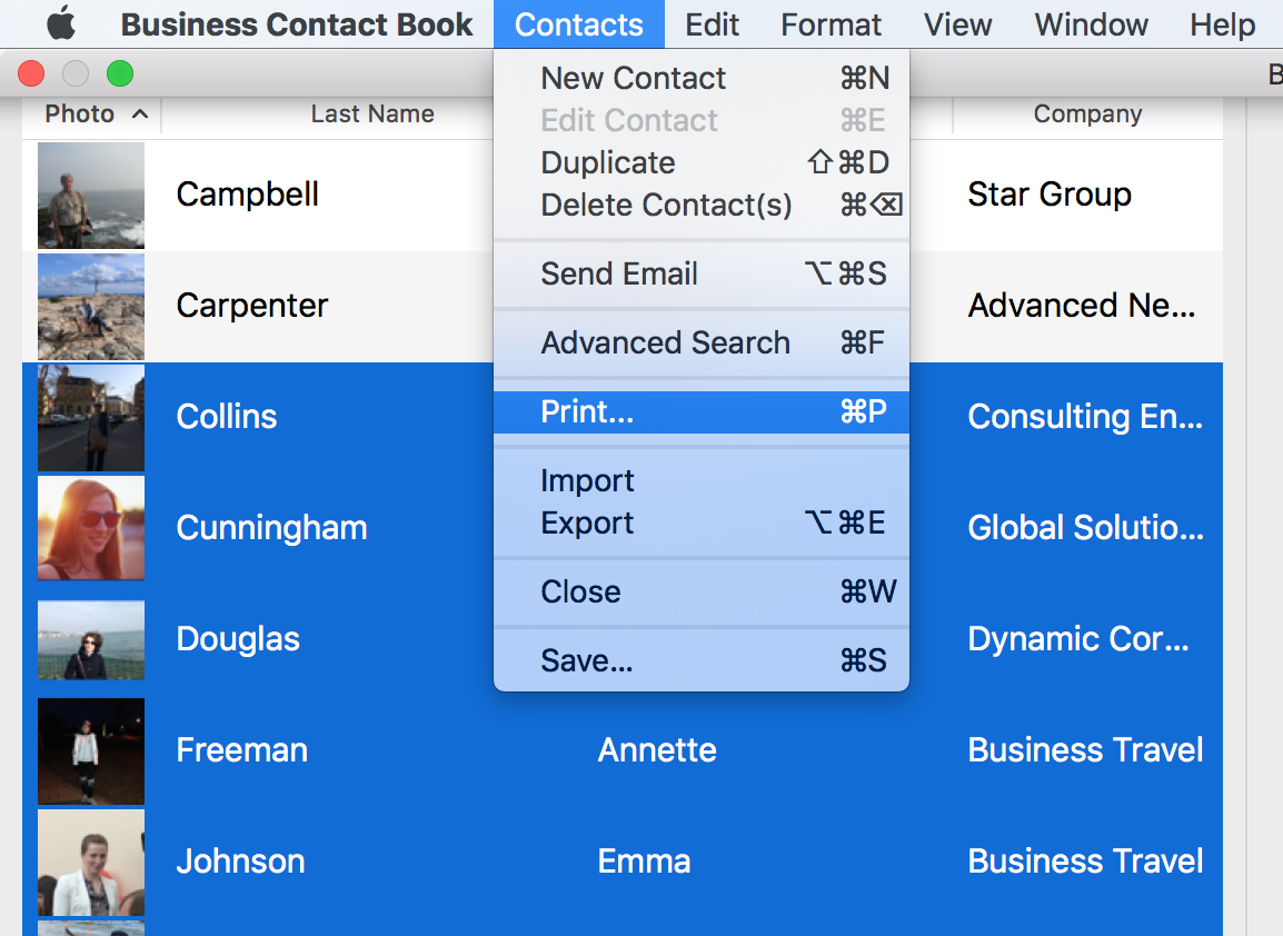 Select Contacts > Print from the top menu