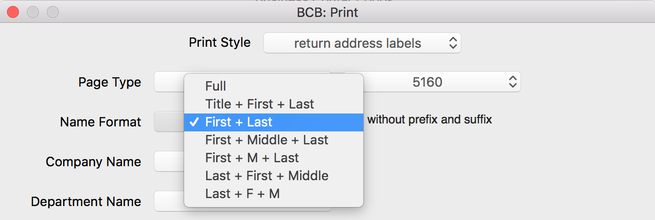 Supported name formats for mailing labels
